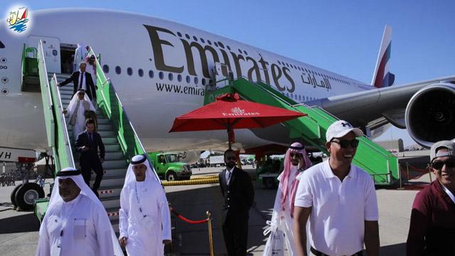نمایشگاه حضور بیش از 3000 بازدیدکننده از A380 امارات در نمایشگاه هوایی عربستان