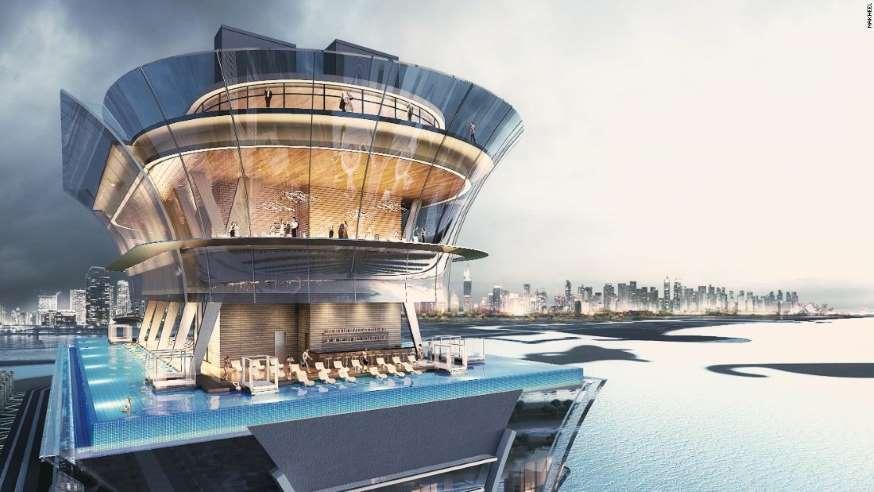خبر ساخت یکی از بلند ترین استخر های جهان در دبی
