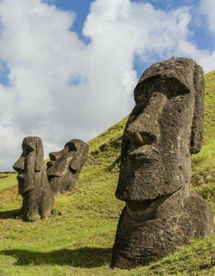 خبر تندیسهایی موآی در ایستر کشور شیلی ، جزیرهای مثلثی شکل در اقیانوس آرام