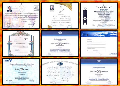 مجوزهای هواپیمایی و گردشگری و مسافرتی و دوره های آموزشی مربوطه